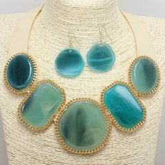 Leatherette & Shell Necklace Set-Blue/Gold