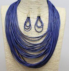 Navy Blue Cord Necklace Set