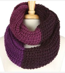 Three Tone Infinity Scarf-Purple