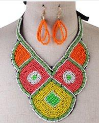 Multi Bead Round Ribbon Necklace Set