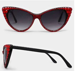 Sunglasses - Fashion Crystal Cat Sunglasses-Red/Black