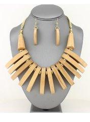 Wood Fringe Bib Necklace Set-Natural