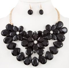 Statement Flower Stone Necklace Set-Black