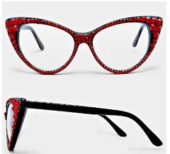 Fashion Crystal Cat Clear Eyeglasses-Red