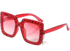Diamond Square Crystal Sunglasses-Red