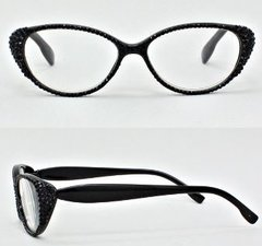 Oval Crystal Black Reading Glasses