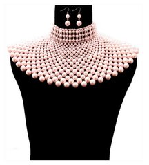 Pearl Armour Bib Choker Necklace Set-Pink