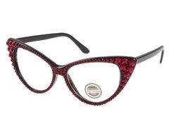 Fashion Crystal Cat Clear Eyeglasses-Dark Red