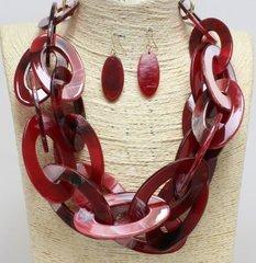 Lucite Link Necklace Set