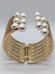 Gold Cuff Pearl Bracelet