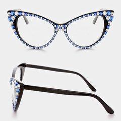Fashion Crystal Cat Eyeglasses-Zeta Phi Beta Colors