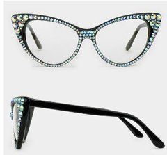 Fashion Crystal Cat Eyeglasses-Black AB