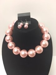 Large Pearl Necklace Set-Pink