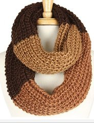 Three Tone Infinity Scarf-Brown