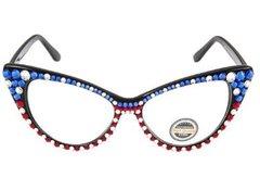 Fashion Crystal Cat Eyeglasses-Red-White-Blue