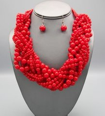 Chunky Red Bead Necklace Set