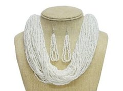 Seed Bead Necklace Set-White