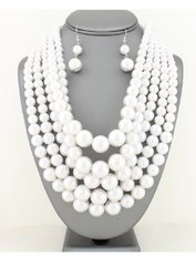 Chunky Pearl Necklace Set-WH