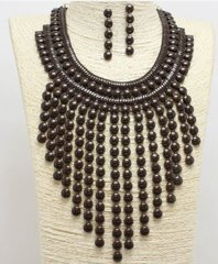 Bib Necklace Set-Brown