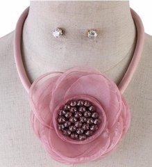 Satan Cord Flower Necklace Set-Pink