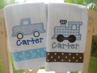 Personalized Little Boys 2 pc Burp Cloth Set