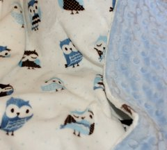 Personalized Minky Baby Blanket with Blue Owl Motif