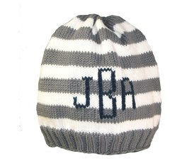 Striped Baby Beanie with Monogram or Name