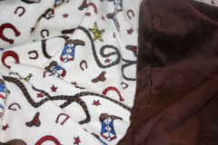 Personalized Minky Baby Blanket Personalized with Cowboy Westernn Motif