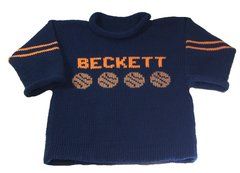 Personalized Name Sweater with Basketball Sports Motif