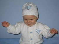 Monogrammed Baby Cardigan and Beanie Set