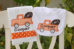 Personalized Football Bib and Burp Set
