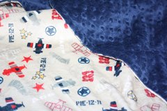 Personalized Minky Baby Blanket with Airplane Motif