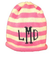 Striped Roll Baby Hat with Monogram