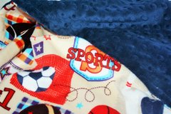 Personalized Minky Baby Blanket with Sports Themed Motifs