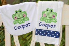 Custom Embroidered Frog Bib and Burp Set