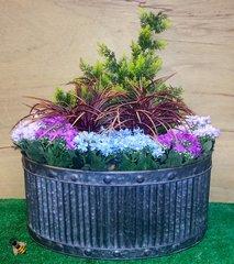 Garden Planter Metal Tub Oval Zinc Ribbed Medium Pot Patio