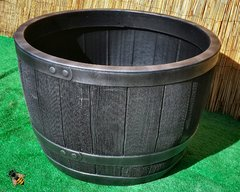 Garden Planter Wood Effect Plastic Half Barrel Tub 61cm