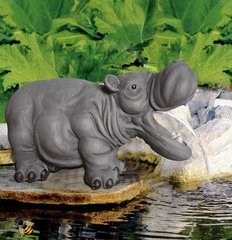 Garden Pond Ornament Spitter Hippo Fountain Water Feature