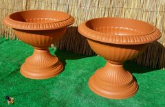 2 Grecian Urn Garden Patio Planter Tub Terracotta Colour