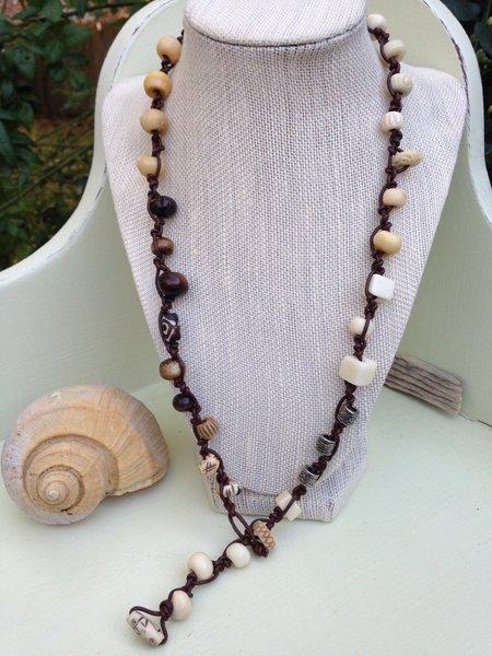 Bone and Pewter Triple-Wrap Bracelet Doubles as Lariat Necklace