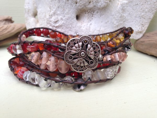 5-Wrap Multi-Colored Glass and Leather Bracelet and Necklace SOLD