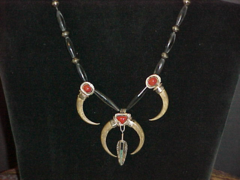 Bone, Silver with Bloodstone Necklace