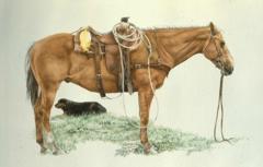 """""""Charlie and Ol` Yeller"""" - 21 x 16 Original Watercolor"""