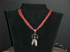 Coral & Silver Medicine Wheel Necklace