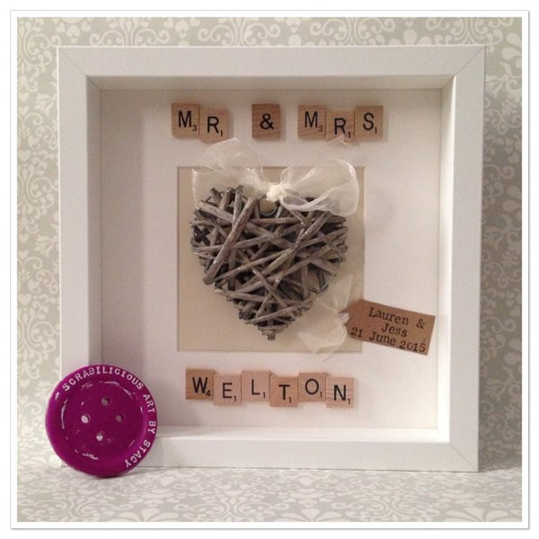 mr mrs wicker heart frame - Mr And Mrs Frame