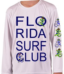 Youth Microfiber long sleeve upf 50 solar protection Florida Surf club Geckos front and sleeve Print
