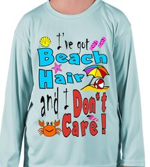 Youth Microfiber long sleeve upf 50 solar protection I got beach hair and I don't care