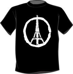 Eiffel Tower Peace Sign T Shirt Paris France Peace symbol White logo
