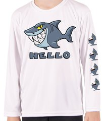 Youth Microfiber long sleeve upf 50 solar protection good shark bad shark back front and sleeve Print