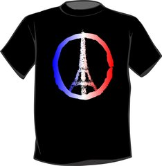 Eiffel Tower Peace Sign T Shirt Paris France Peace symbol blue white red logo